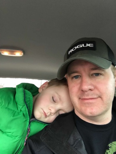 Tucker asleep on shoulder